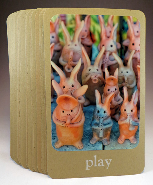 """Desert Wisdom Card """"play"""" with image of pottery jackrabbits"""