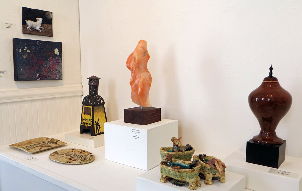 Pajaro Valley Arts Gallery Home Exhibit wide shot including Homefire 1957 ceramic incinerator