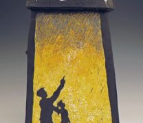 Detail of Ceramic Incinerator with scgraffito carving of two silhouettes