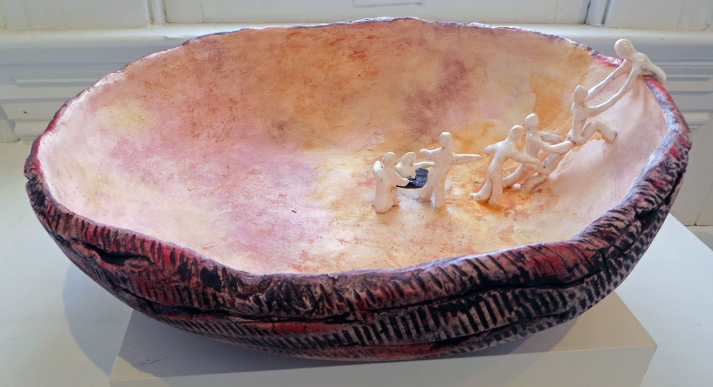 Ceramic Bowl with Hopi Creation Myth Figures