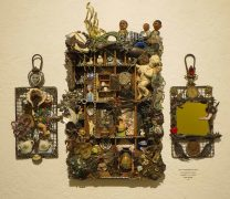 a tryptych assemblage composed of what was left after the artists house burned down