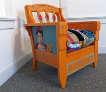 Bright Orange Painted Chair with Overstuffed Cushion