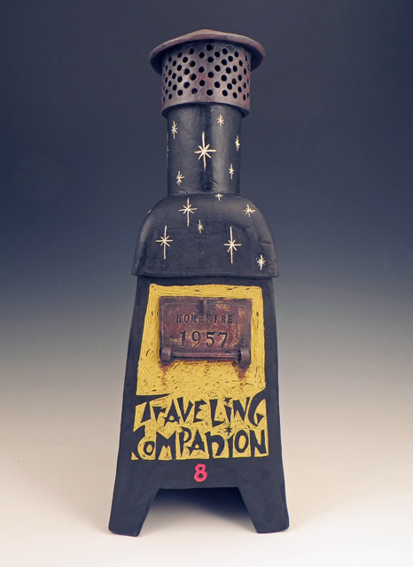Ceramic Incinerator Sculpture Front with title and Traveling Companion