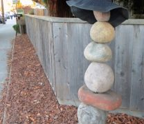 Ceramic Rock Cairn with Sun Hat