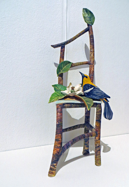 Ceramic Sculpture of chair, oriole and magnolia