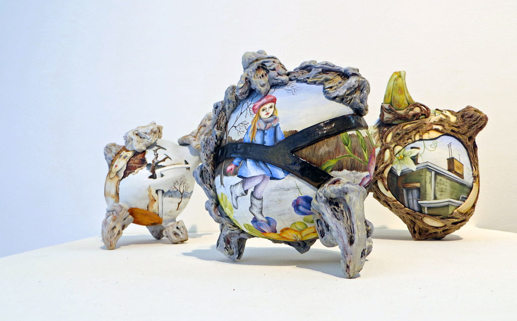 Three freeform and illustrated ceramic teapots by Julia Feld