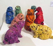 Eight Ceramic Prairie Dogs in Rainbow colors by Kari Rives