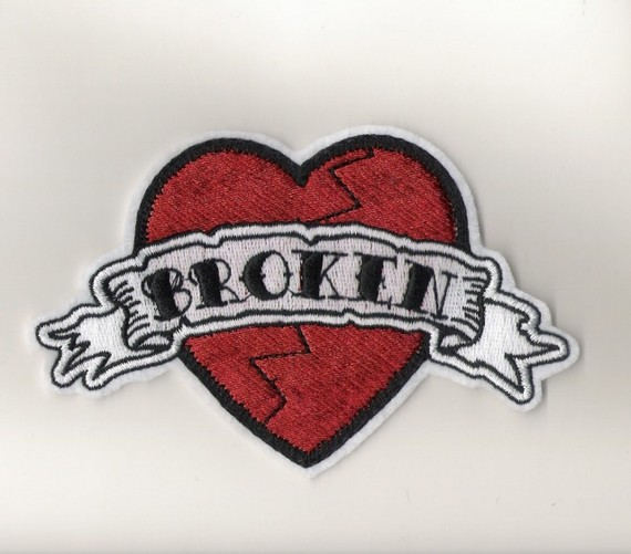 broken heart iron on patch