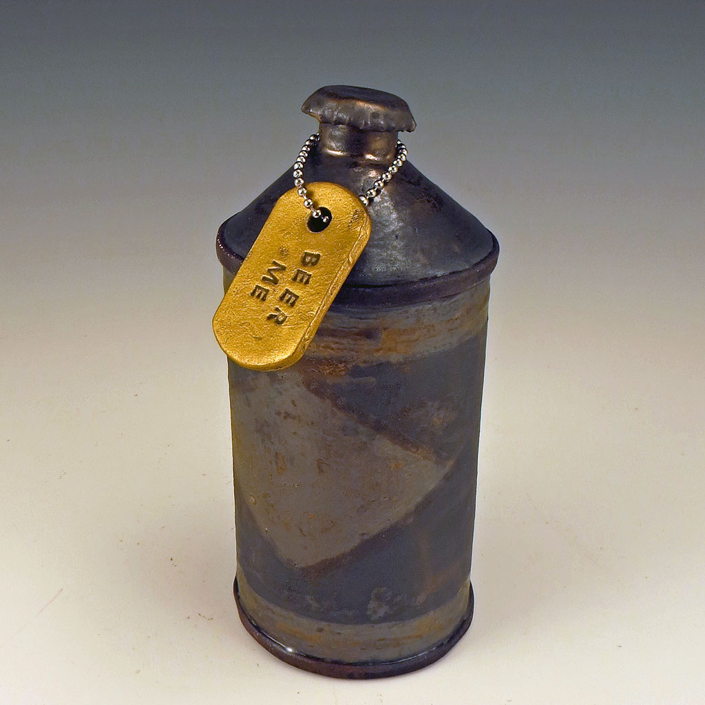 All rusty ceramic conetop beer can with lid