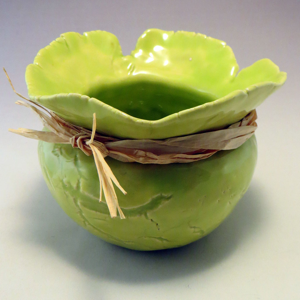 Chartreuse Pinch Pot angle view