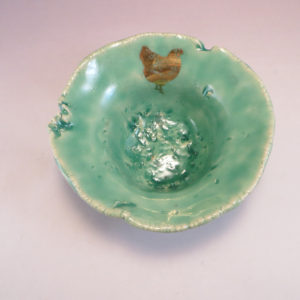 Henpecked Bowl in Aqua top view