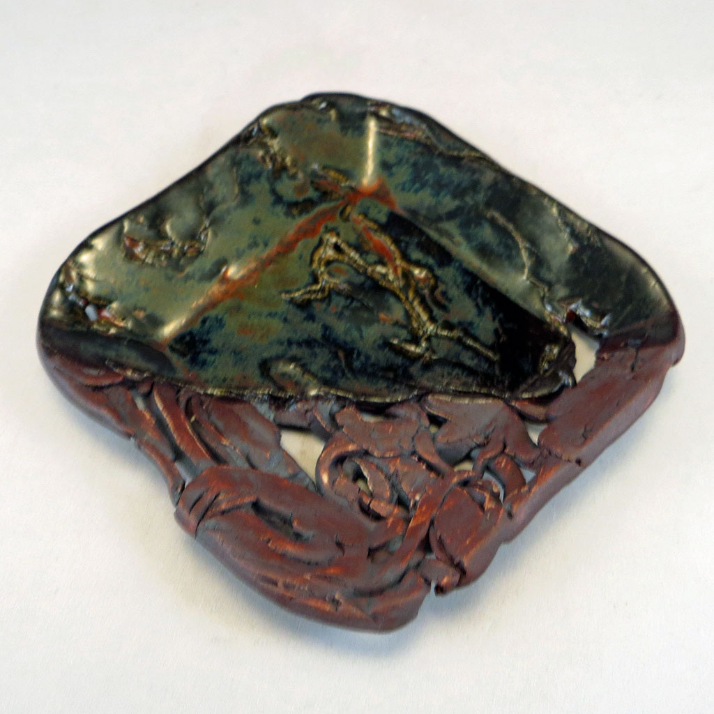 Small dish in glaze and stain