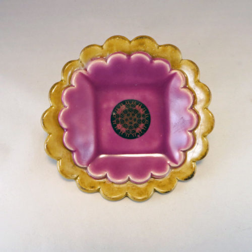 Amber and Hot Orchid Duplex Dish with Mandala Decal