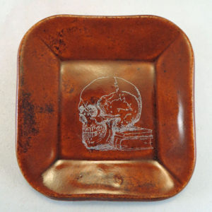 Burnt Orange Skull Dish top