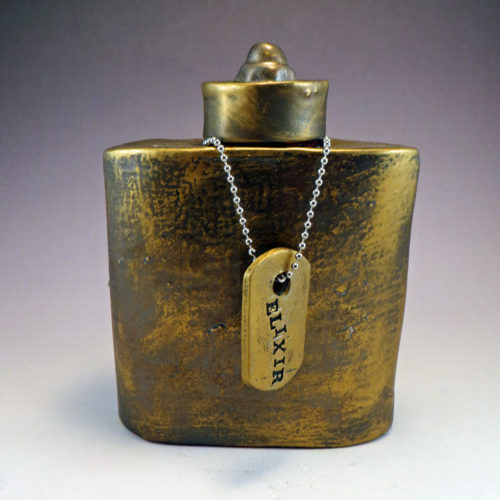 Ceramic Flask with ELIXIR dogtag