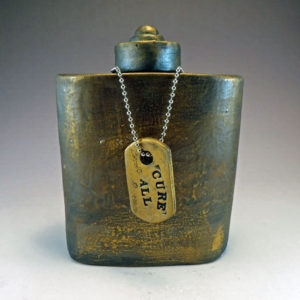 Ceramic Flask with CURE ALL Dogtag