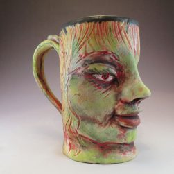 Large ceramic face mug with chartreuse
