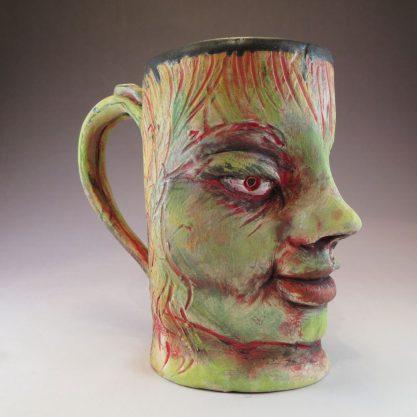 Large ceramic face mug with chartreuse