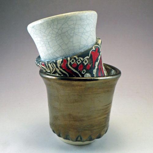 Three in One ceramic cup vase