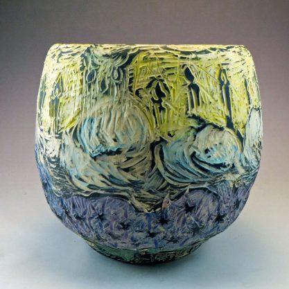 Rounded ceramic sgraffito vase