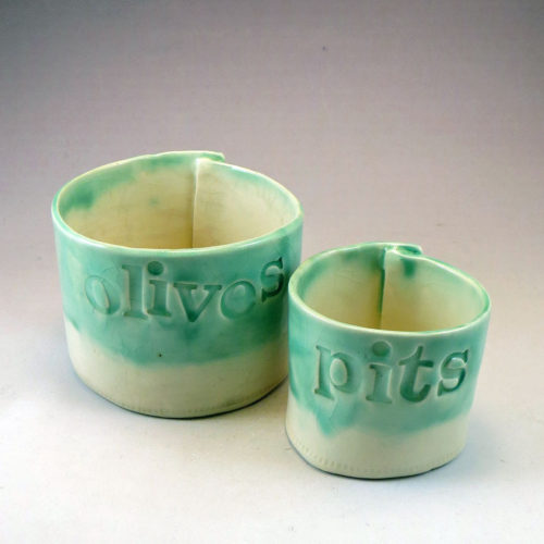 two ceramic cylinders for Olives and Pits
