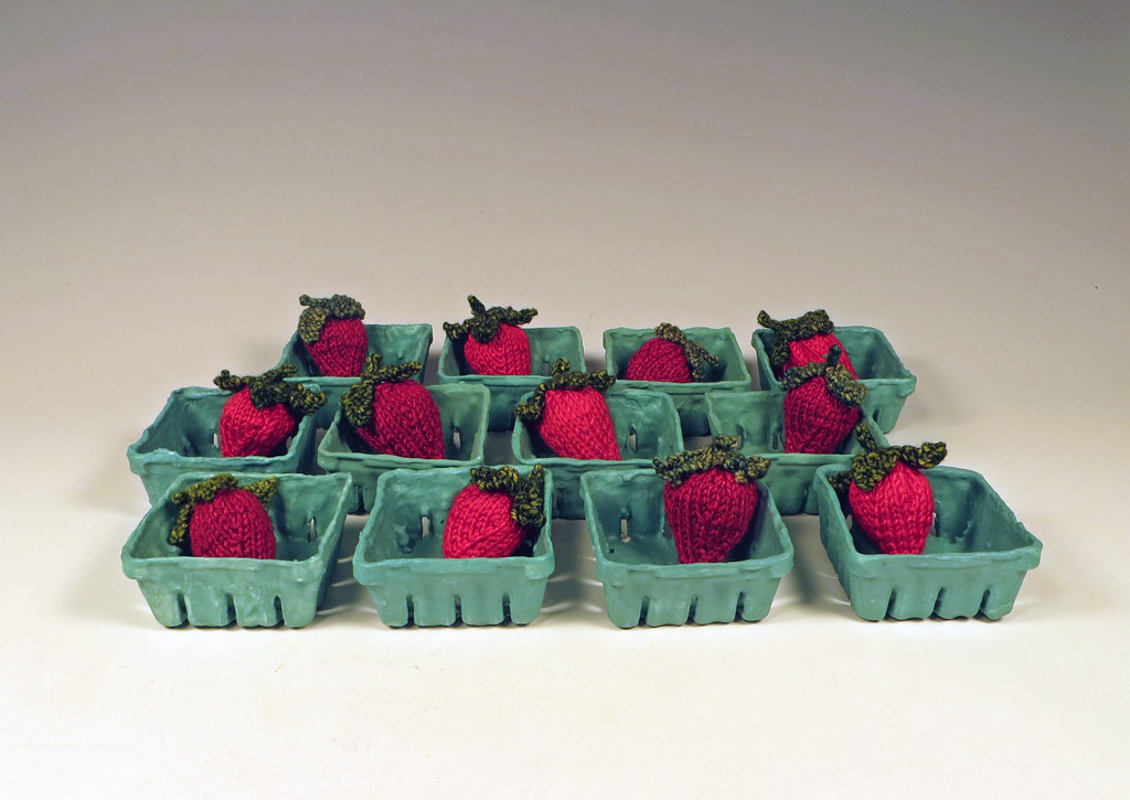 Ceramic and Fiber Strawberry Half Pints