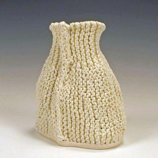 knitted porcelain oval vase
